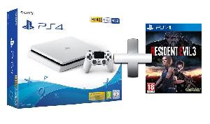 CONSOLE PLAYSTATION PS4 500GB F CHASSIS SLIM WHITE + RESIDENT EVIL 3 EU