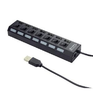 HUB 7 PORTE USB UHB-U2P7-03 NERO