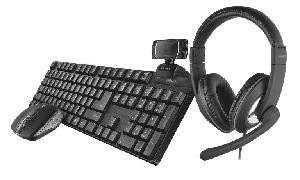 KIT TASTIERA + MOUSE + WEBCAM + CUFFIE - QOBY 4-IN-1 HOME OFFICE SET (24041)