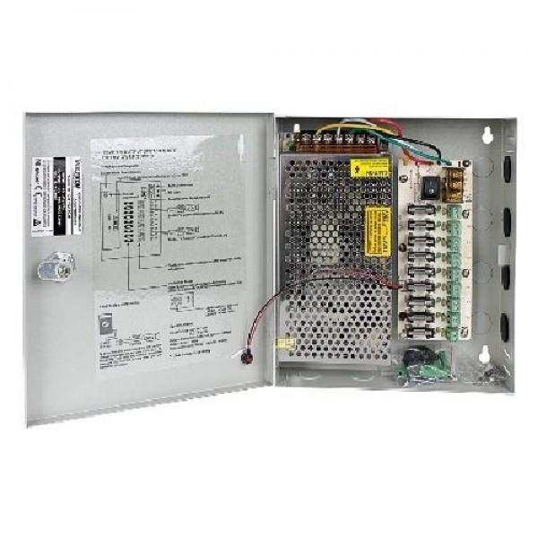 BOX ALIMENTATORE PER TELECAMERE (CM-10A-9CH) 12V 10A 9 CANALI