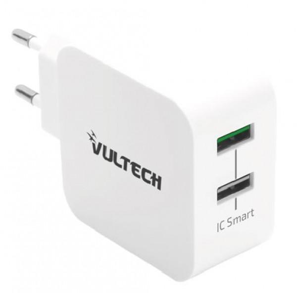 CARICATORE 1 USB + 1 QC 3.0 6A 30W BIANCO (CC-230QCWH)