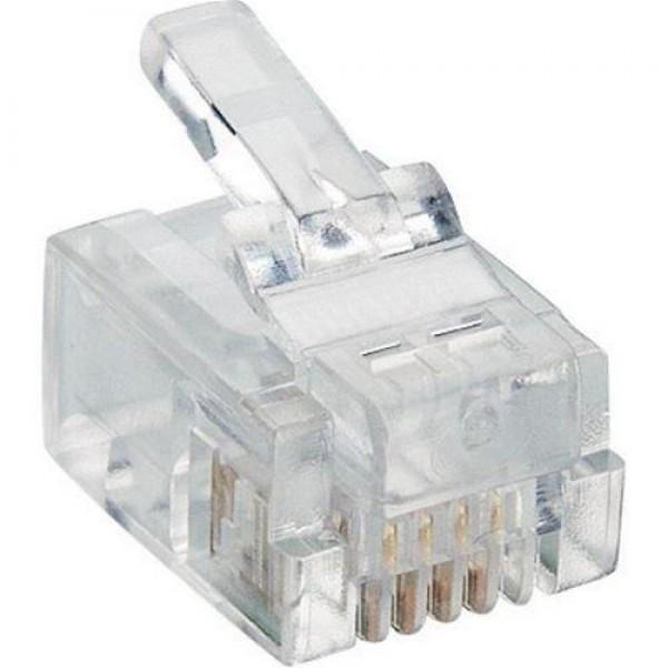 CONNETTORE PLUG TELEFONICO RJ11 6P4C (CONF. 50PZ) (CV-LAN-054)